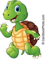 cute green waving turtle - vector illustration of cute green...