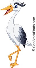 cute grey heron cartoon