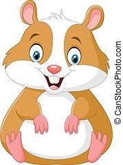 Cute hamster cartoon - Vector illustration of Cute hamster...