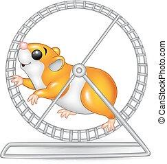 Cute hamster running in rolling - Vector illustration of...