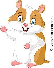 Cute hamster waving hand - Vector illustration of Cute...