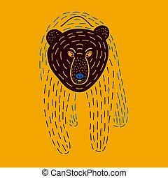 Vector illustration of cute hand drawn bear.