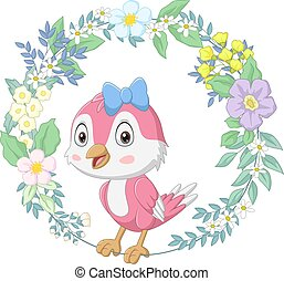 Cute happy bird pink with floral wreath