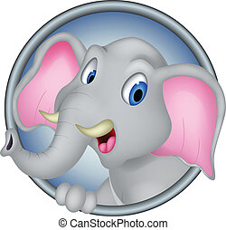 cute head elephant cartoon