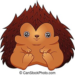 Cute hedgehog cartoon on a white background