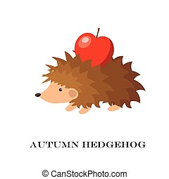Vector illustration of cute hedgehog isolated on yellow background.