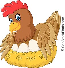 Cute hen brooding her egg - Vector illustration of Cute hen...