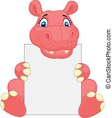 Cute hippo cartoon holding blank si