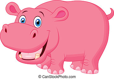 Cute hippo cartoon - Vector illustration of Cute hippo ...