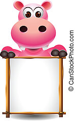 cute hippopotamus with blank sign - vector illustration of...