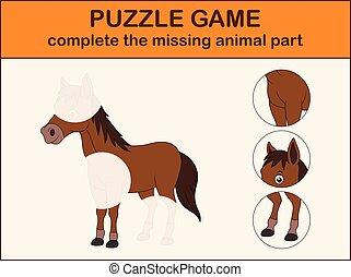 Cute horse cartoon. Complete the puzzle and find the missing parts of the picture