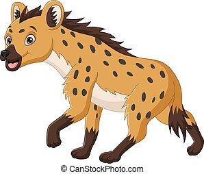 Cute hyena cartoon on white background