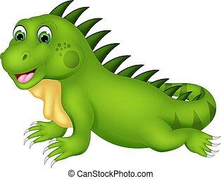 cute iguana cartoon posing with laughing