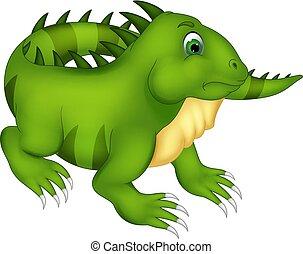 cute iguana cartoon posing with smile