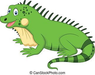 Vector illustration of Cute iguana cartoon