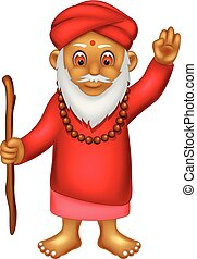 cute indian man cartoon standing bring stick with smile and waving