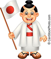 cute japanese boy cartoon standing with smile and bring flag