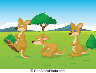 Vector illustration of Cute kangaroo cartoon playing in the grassland