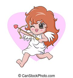 Cute kawaii little girl cupid angel