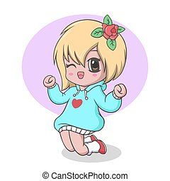 Vector Illustration of Cute kawaii little girl posing