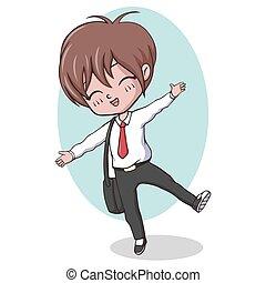 Cute kawaii school boy posing