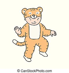 Vector illustration of cute kid in carnival costume of tiger.