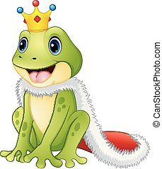 Cute king frog cartoon