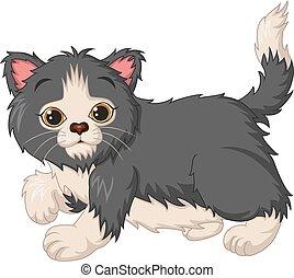 Cute kitten cartoon on white background
