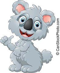 cute koala cartoon presenting
