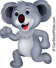 Cute koala cartoon running - Vector illustration of Cute...