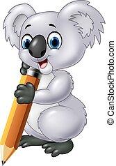 Cute koala holding pencil isolated