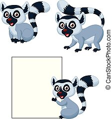 Cute lemur cartoon collection set
