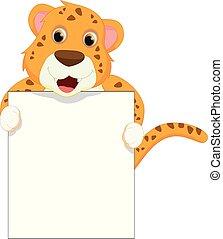 cute leopard cartoon holding blank sign