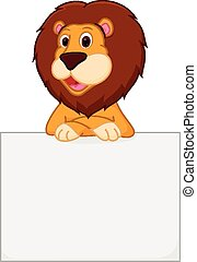 Cute lion cartoon holding sign