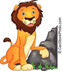 cute lion cartoon on a white background