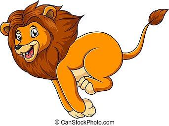 Cute lion cartoon running on white background