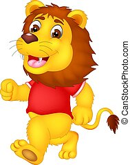 cute lion cartoon running with smile and waving