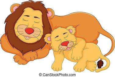 cute lion cartoon sleeping with her baby