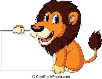 cute lion cartoon with blank sign