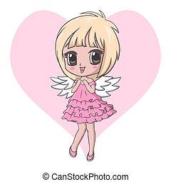 Vector Illustration of Cute little angel girl character