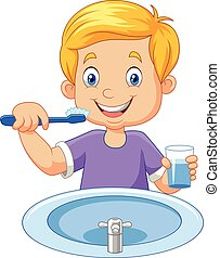Cute little boy brushing teeth - Vector illustration of Cute...