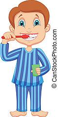 Cute little boy cartoon brushing te