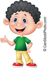 Cute little boy cartoon - vector illustration of Cute little...