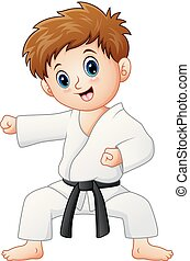 Cute little boy doing karate