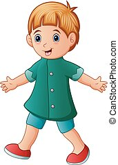 Cute little boy in green shirt walking - Vector illustration...