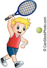 Cute little boy playing tennis on a white background