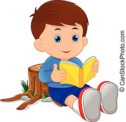 cute little boy reading book - vector illustration of cute ...