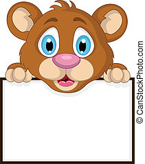 cute little brown bear cartoon - vector illustration of cute...