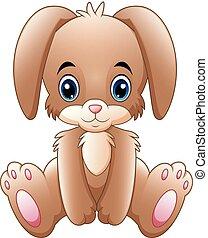 Cute little bunny cartoon sitting