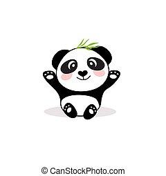 Vector illustration of cute little cartoon panda.